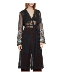 BCBGMAXAZRIA - Black Embroidered Tulle Trench Coat - Lyst