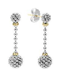 Lagos - Metallic Sterling Silver Caviar Beaded Drop Earrings With 18k Gold - Lyst