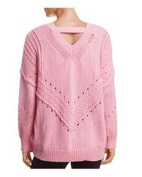 Honey Punch - Pink Copycat V-back Sweater - Lyst