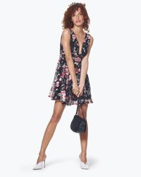 Aqua - Black Embroidered Fit-and-flare Dress - Lyst