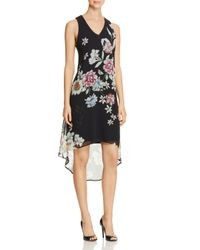 Karen Kane - Black Floral Print High/low Dress - Lyst