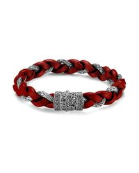 John Hardy - Red Men's Classic Chain Braided Leather Cord Bracelet for Men - Lyst