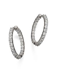 Roberto Coin | 18k White Gold Diamond Inside-out Hoop Earrings | Lyst