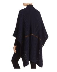 Weekend by Maxmara - Blue Zoe Leather-inset Knit Poncho - Lyst