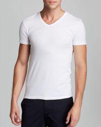 Emporio Armani | White Genuine Cotton V-neck T-shirt, 3-pack for Men | Lyst