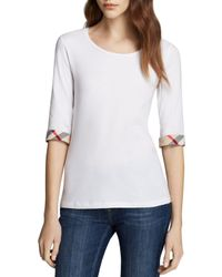 Burberry   White Scoop Neck Three Quarter Sleeve Tee With Check Cuffs   Lyst