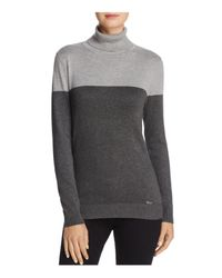 Calvin Klein | Gray Color-blocked Turtleneck Sweater | Lyst