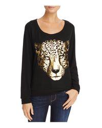 Aqua - Black Lauren Moshi X Metallic Leopard Graphic Sweatshirt - Lyst