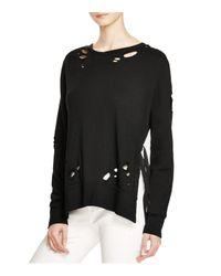 Pam & Gela - Black Destroyed Side Slit Sweatshirt - Lyst