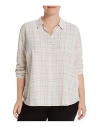 Eileen Fisher | White Check Print Collared Shirt | Lyst