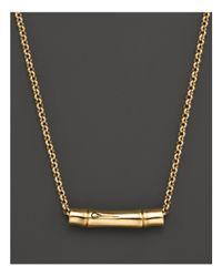 "John Hardy | Metallic Bamboo 18k Yellow Gold Slider Pendant On Chain Necklace, 16"" | Lyst"