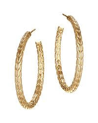 John Hardy | Metallic Classic Chain 18k Yellow Gold Medium Hoop Earrings | Lyst