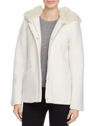 Laundry by Shelli Segal - White Faux Fur Trim Coat - Lyst