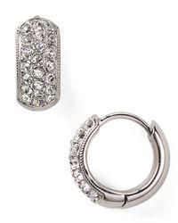 Nadri | Metallic Tiny Pave Huggie Hoop Earrings | Lyst