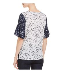 French Connection - Blue Komo Two-tone Pin-tuck Sleeve Top - Lyst