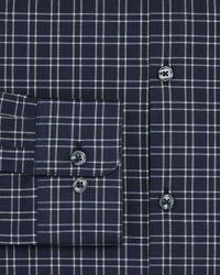 John Varvatos - Gray Windowpane Check Slim Fit Stretch Dress Shirt for Men - Lyst