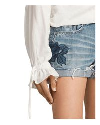 AllSaints - Pam Rose Denim Shorts In Indigo Blue - Lyst