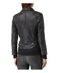 AllSaints - Black Papin Leather Biker Jacket - Lyst