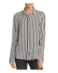 FRAME - Black Pajama Striped Silk Blouse - Lyst