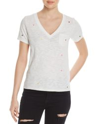 Honey Punch - White Star Embroidered Tee - Lyst