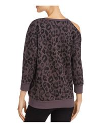 Aqua - Black Cold-shoulder Leopard Print Sweatshirt - Lyst