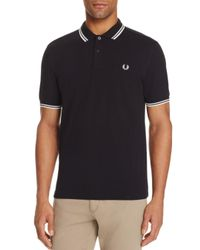 Fred Perry - Black Tipped Logo Slim Fit Polo Shirt for Men - Lyst
