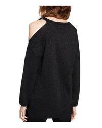 Calvin Klein - Black Metallic Cold-shoulder Sweater - Lyst