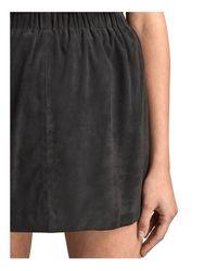 AllSaints - Blue Suko Suede Skirt - Lyst