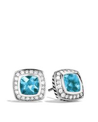 David Yurman - Petite Albion Earrings With Blue Topaz & Diamonds - Lyst
