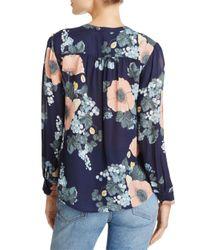 Joie - Blue Arlinda Floral-print Silk Top - Lyst