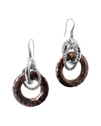 John Hardy | Metallic Palu Silver Drop Earrings With Rose Wood | Lyst