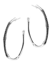 John Hardy | Metallic Bamboo Silver Lava Large Hoop Earrings With Black Sapphire | Lyst