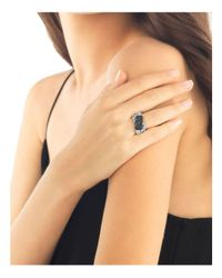John Hardy - Metallic Bedeg Silver Lava Crossover Ring With Black Sapphires - Lyst