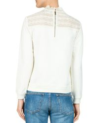 The Kooples - White Lace-inset Sweatshirt - Lyst