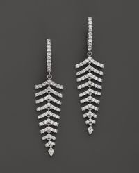 Roberto Coin | 18k White Gold & Diamond Small Leaf Drop Earrings, 1.15 Ct. T.w. | Lyst