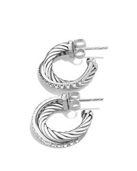 David Yurman - Metallic Crossover Extra Small Hoop Earrings With Diamonds - Lyst