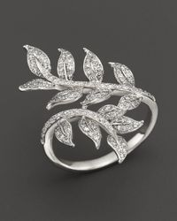 Bloomingdale's - Diamond Leaf Ring In 14k White Gold, .50 Ct. T.w. - Lyst