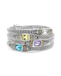 Lagos - Metallic 18k Yellow Gold And Sterling Silver Caviar Color Bracelet With Rose De France Amethyst - Lyst