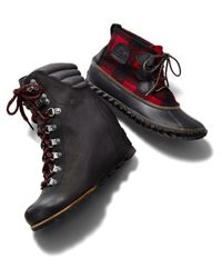 Sorel - Black Women's Waterproof Leather Conquest Wedge Booties - Lyst