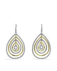 David Yurman - Metallic Cable Classics Teardrop Earrings With Gold - Lyst