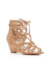 Kenneth Cole | Natural Dylan Caged Lace Up Wedge Sandals | Lyst