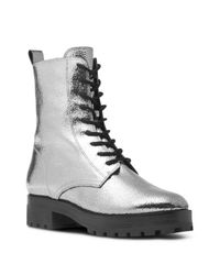 Michael Kors - Collection Women's Gita Crackled Metallic Leather Combat Booties - Lyst
