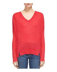 Whistles - Red Notched-hem Sweater - Lyst