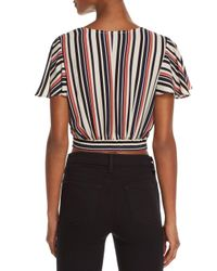 Aqua - Blue Striped Faux-wrap Cropped Top - Lyst