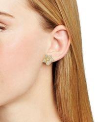 Kate Spade - Metallic Pave Bloom Stud Earrings - Lyst