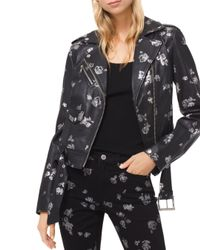 MICHAEL Michael Kors - Black Metallic Rose Print Leather Moto Jacket - Lyst