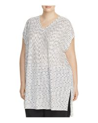 Eileen Fisher - White Line Print Tunic - Lyst