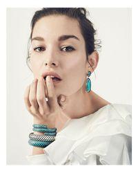 John Hardy - Blue Sterling Silver Dot Double Coil Bracelet In Turquoise - Lyst