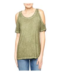 Sanctuary - Green Heathered Cold-shoulder Top - Lyst