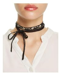 Chan Luu | Black Chiffon Embroidered Necktie | Lyst